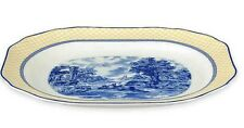 "Spode Blue Italian Giallo Rectangular Serving Platter Yellow Blue 14"" New w Tag"