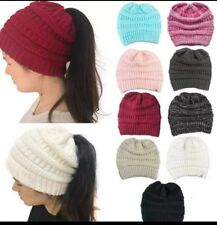 Fashion Women's Girl Hat Winter Warm Stretch handmade Ponytail Beanie