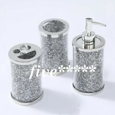 BATHROOM SET Of 3 Crushed Diamond Crystal Filled Jars Silver Bling Dispenser New