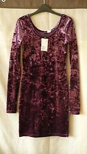 H & M sexy purple velvet bodycon mini dress with long sleeves size UK 8