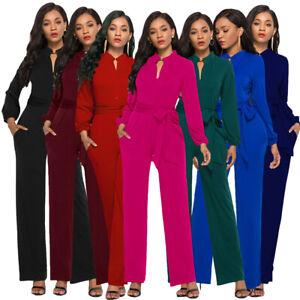 Women Long Sleeve Button Jumpsuit Wide Leg Long Pants Romper Belt Playsuit Party