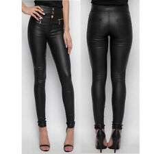 Womens Super SKINNY Fit High Waist 3 Button Leather Wet LOOK Pants Trousers UK Black 16