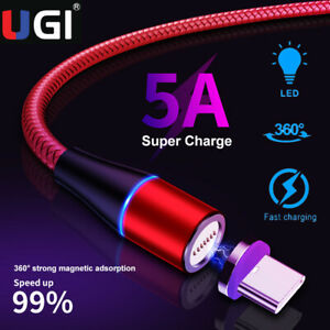 5A Type C USB-C Super Charging Magnetic Cable For Huawei P20 P30 Data Sync Cord