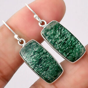 Natural Green Aventurine 925 Sterling Silver Earrings Jewelry E209