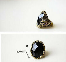 Fashion Retro Style Bronze Decorative Pattern Black Big Resin Ring gift