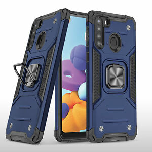 For Samsung Galaxy A21 Case Heavy Duty Shockproof Armor 360 Magnetic Ring Cover