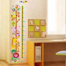 Animals Lion Giraffe Elephant Owls Tree Children's Height Chart Wall Stickers