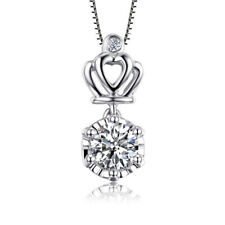 Women Fashion 925 Sterling Silver Pretty Crown Crystal Pendant Necklace Chain 18