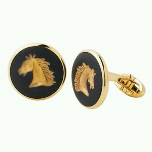 wedgwood cufflinks round gold horses