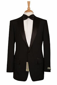 MENS DINNER EVENING SUIT HIRE BLACK TUXEDO PROM DJ JACKET AND TROUSER £39.99
