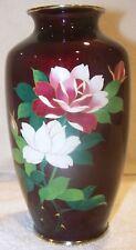JAPANESE DEEP RED CLOISONNE VASE - ROSES - BAMBOO FOIL BACKGROUND