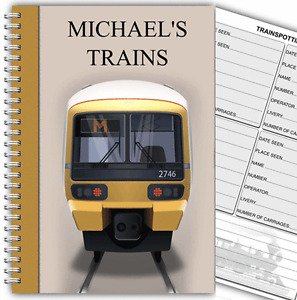 TRAIN SPOTTING LOG BOOK/PERSONALISED A5/TRAIN SPOTTERS JOURNAL/TRAINSPOTTING 03