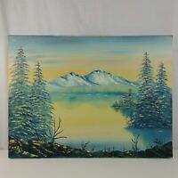 Kevinn Snowy Trees & Mountains Lake Landscape Original Oil Painting on Canvas