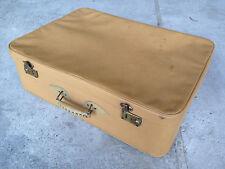 Antiguo grande maleta de viaje de tela y medio tono cuero vintage almacenamiento