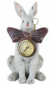 Figura Animale Bianco Coniglio Orologio da Tavola Alice IN Wunderland Decorativo