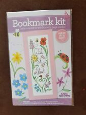 NEW CROSS STITCH MAGAZINE KIT PRETTY FLORAL BOOKMARK CARD 'WILD AT HEART'