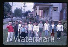 1962 Kodachrome Photo slide Tween boys and Girls in front yard Oregon