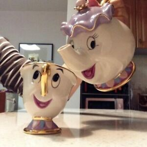 Cartoon Beauty And The Beast Teapot Mug Mrs Potts Chip Tea Pot Cup Set Cogsworth