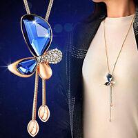 Fashion Women Lady Jewelry Pendant Butterfly Long Chain Tassel Sweater Necklace