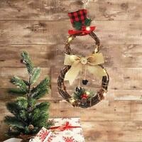 Christmas Wreath Xmas Party Door Wall Home Hanging Garland Ornaments  LED Decor