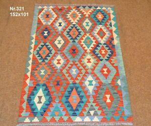 Handgewebter Orient Kelim Afghan Nr.321 - 152x101cm aus 100% Wolle