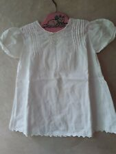 Antique Handmade Baby Dress White Work Embroidery Pin Tucks Size 12 mo