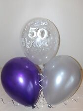 Purple / Silver & Clear Printed 50th BIRTHDAY BALLOONS / Party Decorations x 15