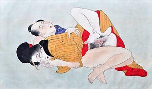 JAPANESE SCHOOL (XIX-XX) RARE Original Japanese gouache Shunga Sex Erotica 1880