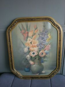 Vintage floral print in Gold Gesso Frame signed, 23x18 inches.