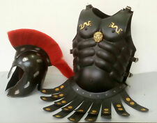 Medieval Antique Muscle Jacket Armor with Red Plume Helmet Handmade Product
