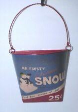 Primitive Mr. Frosty Snowman Metal Pocket Christmas Wall Decor