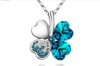 Silver Blue Crystal 4 four Leaf Leaves Clover pendant necklace Jewelry Women