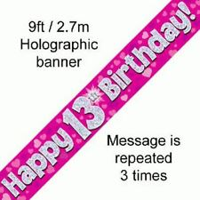 Pink Happy Birthday Party Holographic Foil Banner 9ft 2.7m Multi-Buy Discount