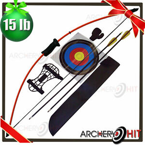 """44"""" Junior Long Bow and Arrow Recurve Archery Set Basic Pack KIDS YOUTH"""