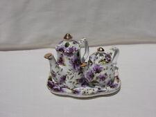 Tea Pot and Tray Salt and Pepper Set Victoria's Garden