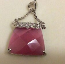 Sterling Silver 925 Faceted Pink MOP Purse Pocketbook CZ Pendant