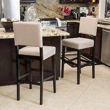 2 Light Tan Bar Stools Counter Height Stools Modern Kitchen Decor Set Chair Seat