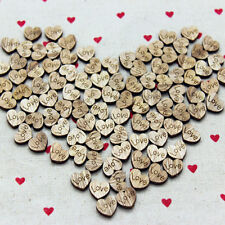 100PCS DIY Rustic Wooden Wood Love Heart Wedding Table Scatter Decoration Craft