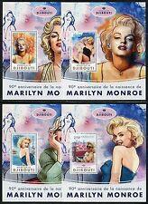 Djibouti 2017 90th Birth Of Marilyn Monroe Set Of Four Souvenir Sheets Mint