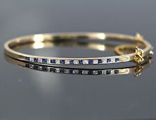 $3,775 14K Yellow Gold 1.10ct Princess Cut Diamond Blue Sapphire Bangle Bracelet