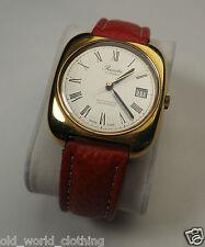 21 Jewels Vintage Automatic Red Leather Strap SWISS Wristwatch PRECISTA 1970's