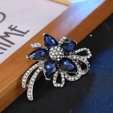 Flower Brooches Fashion Women Crystal Rhinestone Wedding Broches Pin Jewelry