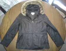 Lambskin leather jacket women L brown removabl leather hood Worthington faux fur