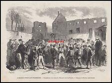 GRAVURE L' ALSACE sous les Prussiens Emigration des enfants vers la FRANCE 1871