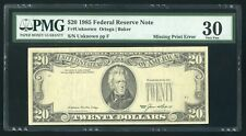 $20 1985 Federal Reserve Note , MISSING PRINT ERROR