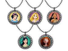 5 Disney PRINCESSES 3D Bottle Cap Necklace Birthday Party Favors #2