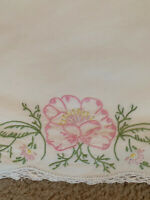 "Vintage Pillowcases White Embroidered Flower 29"" X21"""