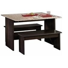 Dining Table Set With Benches For Small Spaces Drop Leaf Granite Finish Top