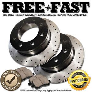 K0267 FRONT Drilled BLACK Rotors Ceramic Pads FOR 2000 2001 2002 Ram 3500 8Lug