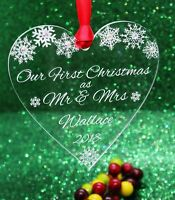 Personalised 'Your / Our First Christmas' as Mr & Mrs Christmas Heart Decoration